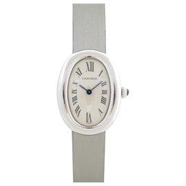 Cartier-MONTRE CARTIER BAIGNOIRE PM 31 MM EN OR BLANC QUARTZ WHITE GOLD WATCH-Argenté