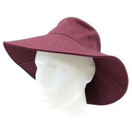 Hermès-NEW HERMES SOKO HAT 56 BORDEAUX WINE LIE TOPCOAT COTTON CANVAS NEW HAT-Dark red