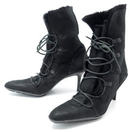 Gucci-NEW GUCCI SHOES 39.5 BLACK SUEDE SUEDE BOOTS WITH HEELS-Black