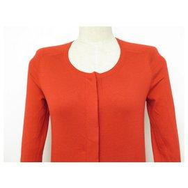 Hermès-NEW HARMES CARDIGAN SWEATER S 34 RED SILK & COTTON NEW SILK VEST-Red