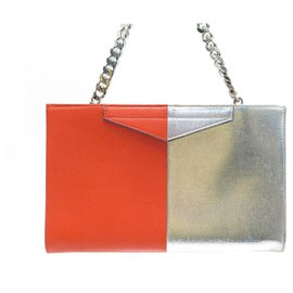 Fendi-FENDI HANDBAG TWO-TONE POUCH IN RED & SILVER LEATHER HAND BAG CHAIN-Other