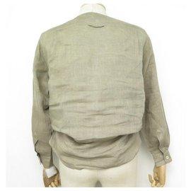 Hermès-HAUT HERMES BLOUSE EN LIN TAILLE M 38 TAUPE LINEN SHIRT TOP-Taupe