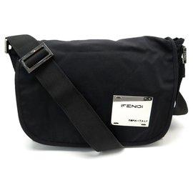 Fendi-FENDI HANDBAG BLACK CANVAS SHOULDER BAG BLACK MESSENGER HAND BAG-Black