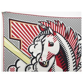 Hermès-NEW RARE HERMES PEGASE POP SCARF DIMITRI RYBALTCHENKO SQUARE 70 IN RED SILK-Red