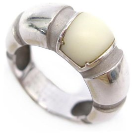 Mauboussin-MAUBOUSSIN NADJA T RING52 White gold rush 18K AND WHITE MOTHER-OF-PEARL + GOLD RING ECRIN-Silvery