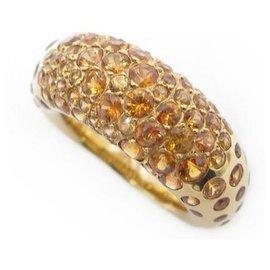 Chaumet-CHAUMET CAVIAR T RING51 yellow gold 18K & SAPPHIRES ORANGE GOLD SAPPHIRE RING-Golden