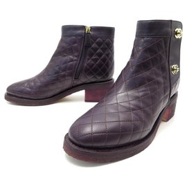 Chanel-NEW CHANEL SHOES TIMELESS CC G BOOTS31204 40.5 Quilted leather-Dark red