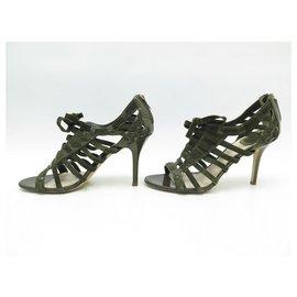 Christian Dior-NEW CHRISTIAN DIOR SANDALS ROMANCE 41 KHAKI LEATHER + SHOES BOX-Khaki