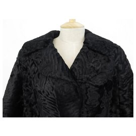 Yves Saint Laurent-YVES SAINT LAURENT LONG COAT L 42 FUR ASTRAKAN SWAKARA BLACK FUR COAT-Black