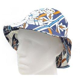 Hermès-NEW HERMES BOB REVERSO CACHE HAT 182028N REVERSIBLE BLUE COTTON HAT-Blue