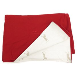 Hermès-REVERSIBLE HERMES HORSES BLANKET RED COTTON CANVAS PLAID BED COVER BLANKET-Other