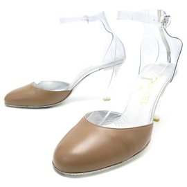 Chanel-CHANEL SHOES WITH TRANSPARENT STRAPS 38 LEATHER + BOX SHOES-Brown