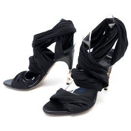 Gucci-NEW GUCCI SHOES 36 It 37 FR BLACK FABRIC SANDALS PUMP SHOES-Black