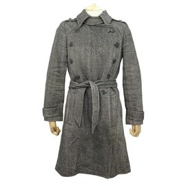 Isabel Marant-NEW ISABEL MARANT ETOILE HERRINGBONE COAT 0 S 34 WOOL & LINEN COAT-Grey