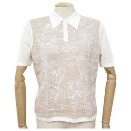 Hermès-HERMES POLO SHIRT TIE AND WEAR TSHIRT M 40 WHITE LINEN SCARF WHITE LINEN TOP-White