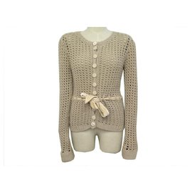 Louis Vuitton-NEUF PULL LOUIS VUITTON MAILLE T40 M CACHEMIRE TAUPE NEW CASHMERE SWEATER-Taupe