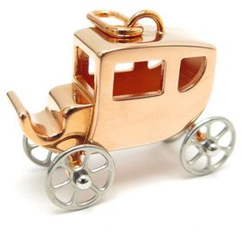 Hermès-HERMES CHARM CALECHE PENDANT IN ROSE GOLD PLATE GOLD CARRIAGE PENDANT-Pink