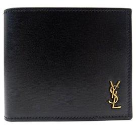 Yves Saint Laurent-NEW YVES SAINT LAURENT TNY MONOGRAM EAST / WEST WALLET 610193 Leather-Black