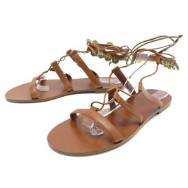 Dior-NEW DIOR ZODIAC JADIOR SHOES 38 BROWN LEATHER SHOES SANDALS-Brown