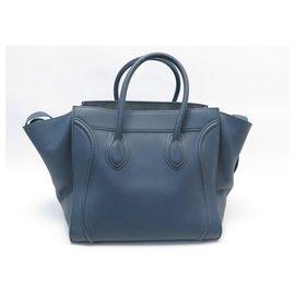 Céline-HANDBAG CELINE LUGGAGE PHANTOM MEDIUM TOTE BLUE LEATHER HAND BAG-Blue