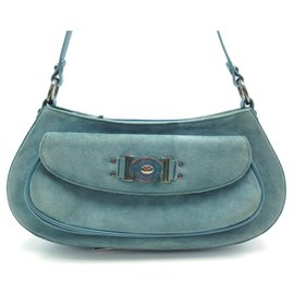 Balenciaga-BALENCIAGA EL CORTE INGLES LEATHER AND SUEDE TURQUOISE SUEDE HAND BAG-Turquoise