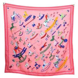 Hermès-NINE HERMES SCARF TELL ME THE RYBALTCHENKO SQUARE HORSE 90 SILK SCARF-Pink