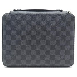 Louis Vuitton-NEW LOUIS VUITTON IPAD ESSENTIAL N CASE63034 LV CASE CHECK GRAPHITE CANVAS-Grey