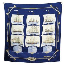 Hermès-HERMES GRAND LARGUE PERON SQUARE SCARF 90 SILK NAVY BLUE SILK SCARF-Navy blue