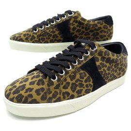 Céline-NEW CELINE TRIOMPHE sneakers SHOES 36 SUEDE LEOPARD SNEAKERS SHOES-Brown
