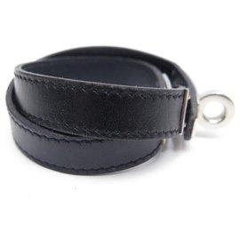 Hermès-Hermès Kelly lined lap bracelet  18 CM PALLADY BLACK LEATHER + LEATHER BOX-Black