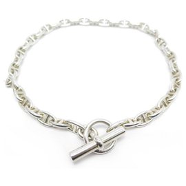Hermès-VINTAGE HERMES ANCHOR CHAIN NECKLACE MM 38 links 44 CM SILVER NECKLACE-Silvery