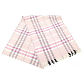 Burberry-BURBERRY SCARF TARTAN CHECK IN PINK SILK SCARF STOLE SILK SCARF-Pink