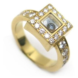 Chopard-CHOPARD HAPPY DIAMOND RING 82/2939-20 T53 YELLOW GOLD AND GOLD RING DIAMONDS-Golden