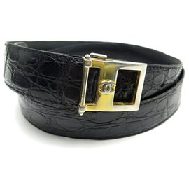 Chanel-CHANEL BELT CC T LOGO BUCKLE95 BLACK CROCODILE LEATHER BLACK LEATHER BELT-Black