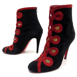 Christian Louboutin-CHRISTIAN LOUBOUTIN AND TROTT SHOES HEEL BOOTS 39 BLACK SUEDE BOOTS-Black