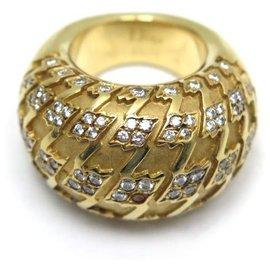 Dior-DIOR HALF RING T RING49 In yellow gold 18K 25.5GR & 104 DIAMONDS + GOLD RING BOX-Golden