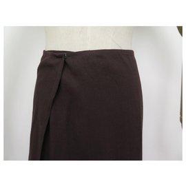 Hermès-NEW HERMES MARTIN MARGIELA M SKIRT 40 STACKABLE BROWN LINEN LINEN SKIRT-Brown