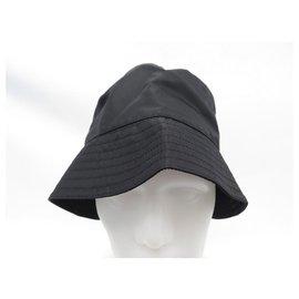 Prada-NEW PRADA BOB HAT IN RE-NYLON 2hc137 BLACK 57 + NEW BLACK HAT BAG-Black