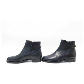 JM Weston-JM WESTON SHOES JODHPUR ANKLE BOOTS 730 8E 42 LARGE BLACK LEATHER BOOTS-Black