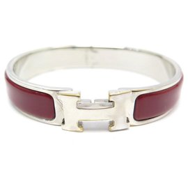 Hermès-hermes Clic H bracelet 16 CM IN RED ENAMEL WITH SILVER PALLADIA FINISH-Red