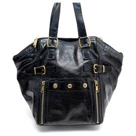 Yves Saint Laurent-YVES SAINT LAURENT DOWNTOWN HANDBAG 202649 BLACK PATENT LEATHER HAND BAG-Black