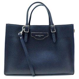 Balenciaga-NEW BALENCIAGA PAPER HANDBAG 399531 BLUE SEED LEATHER STRAP BAG-Blue
