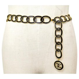 Chanel-CHANEL BELT CC LOGO MEDALLION RINGS 65 to 80 CM METAL GOLD EMAIL BELT-Golden