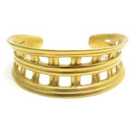 Chanel-NEW VINTAGE CHANEL CUFF BRACELET 1995 GOLD METAL CC NEW LOGO-Golden
