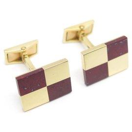 Fred-FRED DAMIER CUFFLINKS IN YELLOW GOLD 18K + BOX YELLOW GOLD CUFFLINFS-Golden