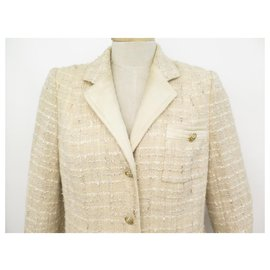 Chanel-CHANEL COAT WITH LION HEAD BUTTONS M 38 IN BEIGE TWEED JACKET COAT-Beige