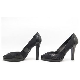 Chanel-NEW CHANEL PUMPS G26126 36 PYTHON AND BLACK CANVAS NEW SHOES-Black