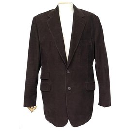 Hermès-HERMES VELVET JACKET COTELE G9125 l 52 BROWN COTTON CORDUROY JACKET-Brown