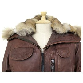 Parajumpers-PARAJUMPERS COAT 061142 T36 S BROWN LEATHER COAT-Brown