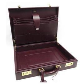 Cartier-NEUF SAC MALLETTE CARTIER ATTACHE CASE CUIR BORDEAUX + BOITE BRIEFCASE-Bordeaux